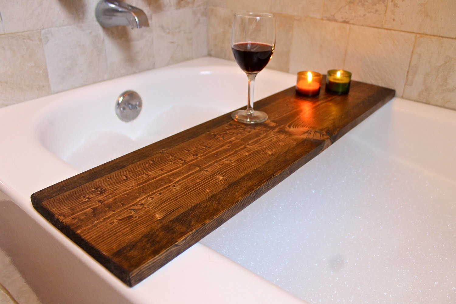 Rustic Wood Bath Caddy Longwhitebeard