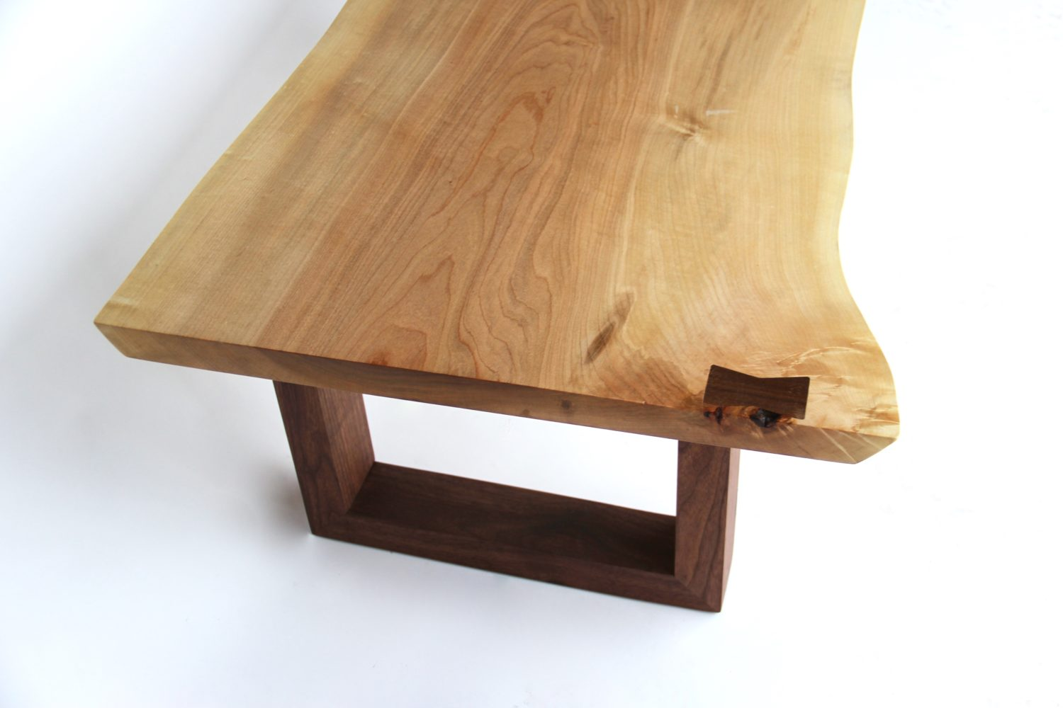 Live Edge Maple and Walnut Coffee Table by Long White Beard Furniture