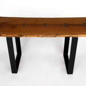 Live Edge Wood Bench Cherry With Steel Legs Made In Michigan