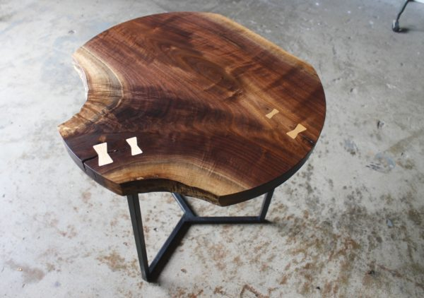 Live Edge Round Accent Table by Long White Beard Furniture